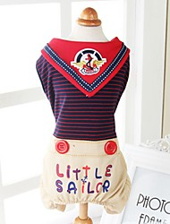 cheap -Dogs Cats Pets Dress Dog Clothes Navy Costume Dalmatian Japanese Spitz Beagle Cotton / Polyester Striped Vintage Sailor Classic Style Casual / Daily XS S M L XL
