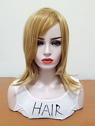 cheap -Synthetic Wig Wavy Side Part Wig Blonde Medium Length Blonde Synthetic Hair Women's Heat Resistant Synthetic With Bangs Blonde