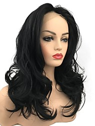 cheap -Synthetic Lace Front Wig Curly Middle Part Lace Front Wig Long Jet Black Synthetic Hair Women's Hot Sale Black StrongBeauty