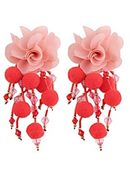 cheap -Drop Earrings Tassel Long Floral / Botanicals Flower Ladies Sweet Fashion Earrings Jewelry Red / Green / Light Blue For Evening Party Work