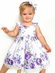 cheap -Toddler Girls' Active Sweet Daily Holiday Floral Ruffle Print Sleeveless Above Knee Dress Purple / Cotton