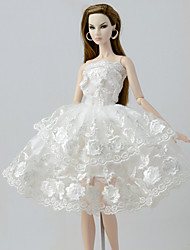 cheap -Doll accessories Doll Clothes Doll Dress Wedding Dress Party / Evening Dresses Wedding Ball Gown Lace Linen / Cotton Blend Tulle Lace Linen / Polyester Blend Cotton Blend For 11.5 Inch Doll Handmade