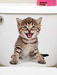 Недорогие -Животные / 3D Наклейки Наклейки для животных Наклейки для туалета, Винил Украшение дома Наклейка на стену Унитаз / Холодильник Украшение 1шт / Съемная / Положение регулируется