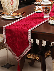 cheap -Table Runner Silk Silky Contemporary Geometric Tabel cover Table decorations for Christmas Party / Evening Holiday New Year Square 33*180 cm milk white 1 pcs