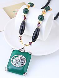 Недорогие -Ожерелья с подвесками длинное ожерелье Длиные Розарий Цепи Дамы Винтаж европейский Мода Резина Сплав Темно-зеленый 78 cm Ожерелье Бижутерия Назначение Повседневные
