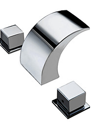cheap -Bathroom Sink Faucet - Waterfall Chrome Deck Mounted Two Handles Three HolesBath Taps / Brass