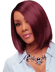cheap -Remy Human Hair Unprocessed Human Hair Lace Front Wig Bob Short Bob Middle Part Rihanna style Brazilian Hair Straight Burgundy Wig 130% Density with Baby Hair Ombre Hair Dark Roots Unprocessed