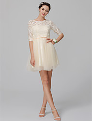 cheap -A-Line Bateau Neck Short / Mini Lace / Tulle Bridesmaid Dress with Bow(s) / Open Back