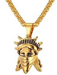 Недорогие -Ожерелья с подвесками Цепь Foxtail франко сеть Мода Нержавеющая сталь Золотой Серебряный 55 cm Ожерелье Бижутерия Назначение Повседневные