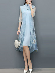 cheap -Women's Plus Size Daily Chinoiserie Asymmetrical Loose Chiffon Dress - Floral Animal Summer Blue XL XXL XXXL
