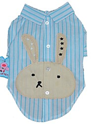 cheap -Dogs Cats Pets T-shirts Dog Clothes Purple Blue Pink Costume Beagle Bulldog Shiba Inu Cotton / Polyester Striped Cartoon Rabbit / Bunny Holiday Simple Style XS S M L XL