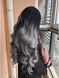 cheap -Synthetic Lace Front Wig Wavy Middle Part Lace Front Wig Long Black / Grey Synthetic Hair Women's Women Color Gradient Middle Part Sew in Gray / Glueless