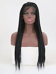 cheap -Synthetic Lace Front Wig Straight Kardashian Style Braid Lace Front Wig Black Natural Black Synthetic Hair Women's Heat Resistant Black Wig Long / Yes