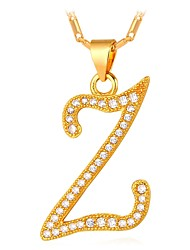 cheap -Men's Cubic Zirconia Pendant Necklace Name Alphabet Shape Letter Fashion Copper Gold Silver 55 cm Necklace Jewelry For Gift Daily