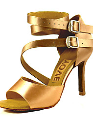 cheap -Women's Dance Shoes Satin Latin Shoes / Salsa Shoes Buckle / Ribbon Tie Sandal / Heel Customized Heel Customizable Bronze / Almond / Nude / Performance / Leather / Professional / EU41