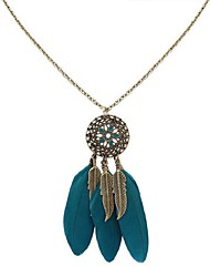 cheap -Tanzanite Pendant Necklace Chain Necklace Thick Chain Feather Ladies Ethnic Fashion Native American Feather Alloy Wine Black Dark Green Rainbow Dark Blue 70 cm Necklace Jewelry For Holiday Street