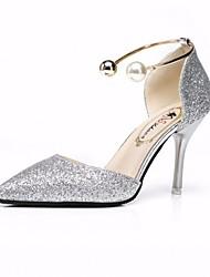 cheap -Women's Heels Stiletto Heel PU(Polyurethane) Comfort / Basic Pump Fall Gold / Black / Silver / Wedding