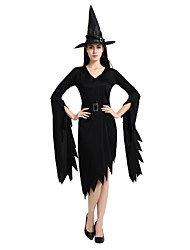 cheap -Witch Costume Unisex Halloween Halloween Carnival Masquerade Festival / Holiday Polyster Outfits Black Solid Colored Halloween