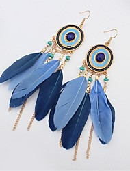 cheap -Turquoise Drop Earrings Leaf Feather Ladies Vintage Fashion Native American Resin Feather Earrings Jewelry Red / Green / Royal Blue For Holiday Going out