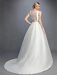 cheap -Ball Gown Wedding Dresses Bateau Neck Court Train Lace Satin Regular Straps Formal Backless with Lace Sash / Ribbon Beading 2021