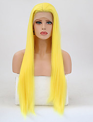 cheap -Synthetic Lace Front Wig Straight Layered Haircut Lace Front Wig Blonde Long Yellow Synthetic Hair Women's Heat Resistant Blonde