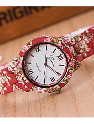Недорогие -Жен. Наручные часы Кварцевый Красный Повседневные часы Аналоговый Дамы Цветы Мода - Красный