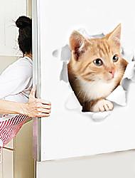 Недорогие -новая милая дыра кошка кошка творческий украшения дома 3d животных наклейки на стену ванная туалет туалет наклейки