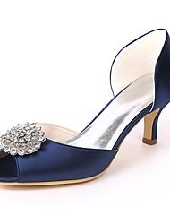 abordables -Femme Chaussures de mariage Talon Aiguille Bout ouvert Strass Satin Escarpin Basique Printemps été Rouge / Champagne / Ivoire