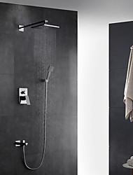 Недорогие -Смеситель для душа - Современный Хром На стену Керамический клапан Bath Shower Mixer Taps / Латунь / Одной ручкой четыре отверстия