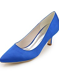 cheap -Women's Wedding Shoes Kitten Heel Pointed Toe Satin Basic Pump Spring & Summer Blue / Champagne / Ivory / Party & Evening