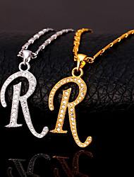 cheap -Men's Cubic Zirconia Pendant Necklace Monogram Alphabet Shape Letter Fashion Hip Hop Copper Gold Silver 55 cm Necklace Jewelry For Gift Daily