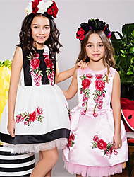 cheap -Kids Toddler Girls' Active Basic Party Holiday Color Block Print Sleeveless Above Knee Dress White