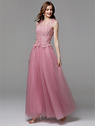 cheap -A-Line Illusion Neck Floor Length Tulle / Beaded Lace Prom / Formal Evening Dress with Appliques by TS Couture®
