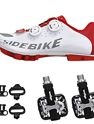 cheap -SIDEBIKE Adults' Cycling Shoes With Pedals & Cleats Mountain Bike Shoes Nylon Cushioning Cycling Red and White Men's Cycling Shoes / Synthetic Microfiber PU