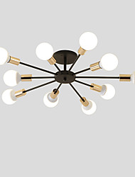 cheap -10-Light 10-Head Vintage Metal Semi Flush Mount Ceiling Light Living Room Dining Room Lighting Painted Finish