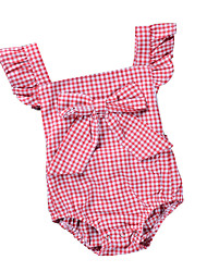 cheap -Baby Girls' Active / Basic Daily / Holiday Striped / Plaid Backless / Bow / Vintage Style Short Sleeves Cotton Bodysuit Black
