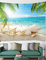 cheap -Wall Tapestry Art Decor Blanket Curtain Picnic Tablecloth Hanging Home Bedroom Living Room Dorm Decoration Landscape Beach Sea Ocean Shell Sandbeach Home Living Room Dorm Decoration