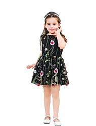 cheap -Kids Toddler Girls' Sweet Boho Going out Weekend Floral Print Short Sleeve Asymmetrical Dress Black / Cotton