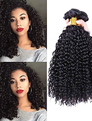 cheap -3 Bundles Indian Hair Curly Human Hair Unprocessed Human Hair 300 g Human Hair Extensions Black Natural Color Human Hair Weaves Soft Extention Best Quality Human Hair Extensions / 8A