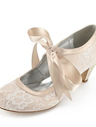 cheap -Women's Wedding Shoes Lace up Plus Size Cone Heel Comfort Wedding Party & Evening Lace Summer White Champagne Ivory / EU41