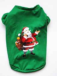 cheap -Dog Cat Pets Vest Cartoon American / USA Christmas Party Holiday Winter Dog Clothes Green Costume Cotton XS S M L
