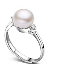 cheap -Women's Band Ring thumb ring Freshwater Pearl Silver Pearl Stainless Steel S925 Sterling Silver Ladies Natural Fashion Birthday Daily Jewelry