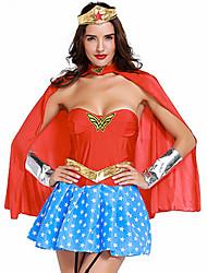 cheap -Women's Super Heroes Warrior Sex Cosplay Costume Party Costume Patchwork Dress Headpiece Corset / Lycra / Cloak