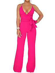 cheap -Women's Wide Leg Daily / Going out Basic / Street chic Deep V Black Wine Fuchsia Wide Leg Slim Jumpsuit Onesie, Solid Colored Lace up S M L High Waist Sleeveless Summer