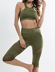 cheap -Women's Sport Bra With Running Pants Spandex Mesh Zumba Yoga Fitness Clothing Suit Sleeveless Activewear Breathable Quick Dry Anatomic Design Stretchy