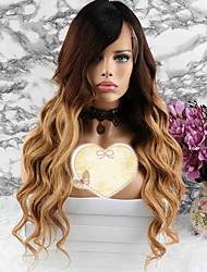 cheap -Remy Human Hair Lace Front Wig Layered Haircut Beyonce style Brazilian Hair Wavy Blonde Wig 130% Density with Baby Hair Party Coloring Women's Short Medium Length Long Human Hair Lace Wig Luckysnow