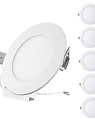 cheap -ZDM 6PCS 3W Round Flat LED Panel Light LampUltra-thin LED Recessed Ceiling Light Natural White / Cold White / Warm White AC85-265V