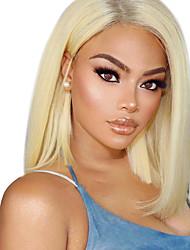 cheap -Remy Human Hair Lace Front Wig Bob Short Bob style Peruvian Hair Straight Wig 130% Density Women's Short Human Hair Lace Wig beikashang