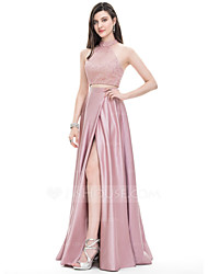 cheap -A-Line Elegant Two Piece Prom Formal Evening Dress Halter Neck Sleeveless Floor Length Lace Charmeuse with Split Front 2020