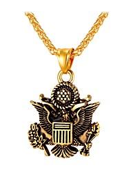 Недорогие -Ожерелья с подвесками Цепь Foxtail Мода Хип-хоп Нержавеющая сталь Золотой Серебряный 55 cm Ожерелье Бижутерия Назначение Повседневные